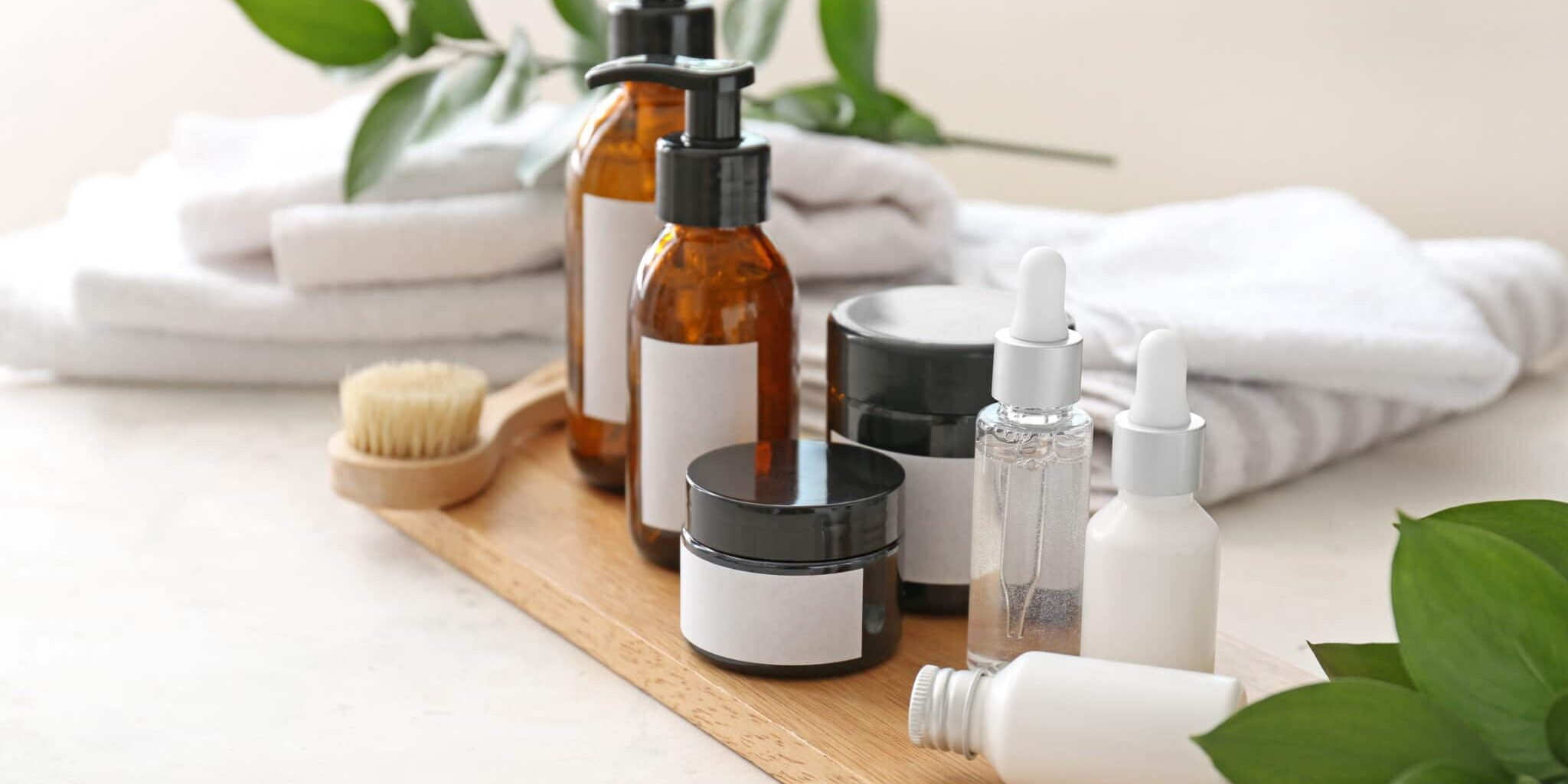 Set of cosmetics for personal hygiene on table